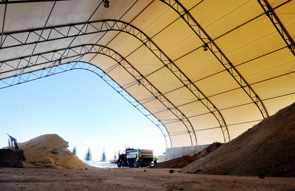 John Cross<br /> The massive salt/sand storage shed at MnDOT's Mankato District headquarters is nearly empty after a long winter of trying to keep roads clear.. Salt and sand have had to be hauled in from other sites in the district.