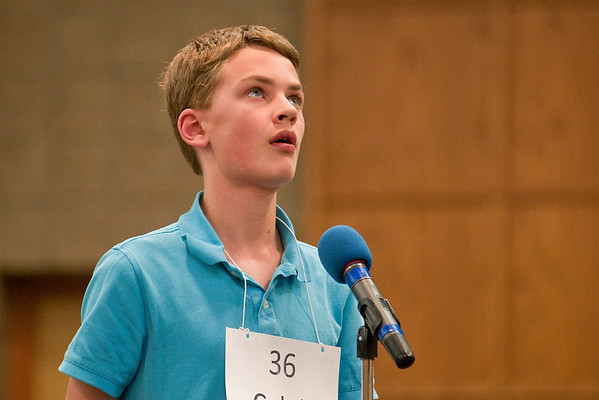 Caleb Carlovsky from St. Paul's Lutheran School looks up towards the ceiling after being given a word to spell at the 2017 Regional Spelling Bee held at South Central College on Tuesday. Photo by Jackson Forderer