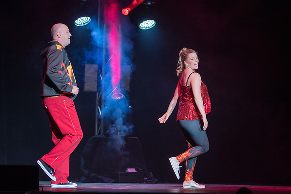 Nicole Mueller (right) and Todd Joyal (left) were the first duo to perform at Dancing with the Mankato Stars on Saturday. Mueller and Joyal won the popular vote from the audience at the fundraiser. Photo by Jackson Forderer