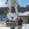 Adrian Swales, the new owner of Happy Chef, outside the restaurant and the iconic Happy Chef statue. Swales became the owner in May of 2017, after working for the Frederick family since 2003 and being a manager for eight years. Photo by Jackson Forderer