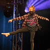 A member of Dance Express impersonates a Radio Mankato employee with a fake beard during Dancing with the Mankato Stars on Saturday. Photo by Jackson Forderer