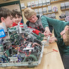 From left, Ryan Von Malski, 12, Tyler Jacoby, 12, Aiden Gerdes, 13, and Edison Shores, 12, work on their Vex Robotic in a classroom at Mankato West High School on Tuesday. The four are all part of the middle school Vex Robotic team. Photo by Jackson Forderer