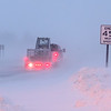 A truck disappears into whiteout conditions heading north on Highway 13 out of North Mankato as rising wind speeds reduced visibility throughout the area. Photo by Jackson Forderer