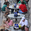 John Cross<br /> Mankato Mall diners savor a rare March alfresco opportunity during recent record-high temperatures. i