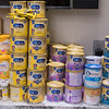 Different kinds of baby formula line the shelf in the Cambria Gallery during Feeding Every Baby Formula Shelf's monthly distribution event held on Saturday. Photo by Jackson Forderer