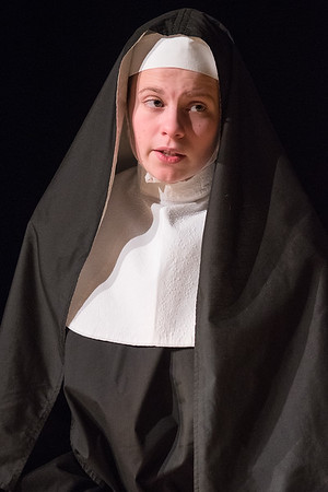 Brynja Riehm, playing the role of Sister Ann, speaks on stage during a dress rehearsal of the one act play called Booby Trap. The one act play is being put on by Waseca High School students. Photo by Jackson Forderer