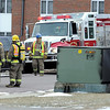 A utility box is charred after a fire Thursday afternoon along Hoover Drive in North Mankato.