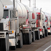 John Cross<br /> Propane tankers park along Highway 169 north of Vernon Center awaiting their turn for propane at the Mid-America Pipeline Co. terrminal. Drivers have waited as long as seven hours to be loaded.