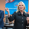 U.S. Senate candidate Karin Housley (R) speaks to the Blue Earth County Republicans at their headquarters on Tuesday evening. Housley is running to fill the seat vacated by Al Franken. Photo by Jackson Forderer