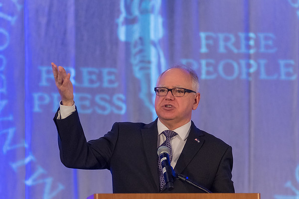 Gov. Tim Walz speaks to an audience at the Minnesota Newspaper Association Convention held at the DoubleTree Hotel in Bloomington on Friday. Photo by Jackson Forderer