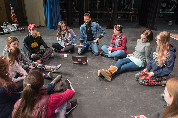 Assistant director Mitch xxxxxx (top center) and director Delanie Wiedrich (left of center) rehearse lines with the cast of Tick Talk at the Fitzgerald Theater on Tuesday. Photo by Jackson Forderer