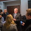 Gov. Tim Walz fields questions from members of the media after giving a speech at the Minnesota Newspaper Association Convention in Bloomington. Reporters were asking Walz about the breaking news of the federal government reopening. Photo by Jackson Forderer