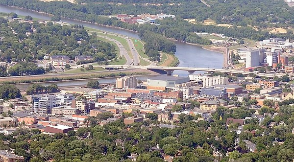 Downtown Mankato aerial