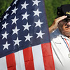 John Cross<br /> Wearing a Union Army hat, master of ceremonies Denny Warta stood at attention during the singing of the national anthem at the 150-year commemoration in New Ulm on Wednesday of the Civil War Battle of Gettysburg.