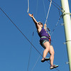 Pat Christman<br /> Sara Jesseman navigates part of the MSU ropes course.