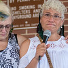 Kathy Kramer (left) supports Josefina Flandes at the Keep Families Together rally as Flandes told her story of immigrating from Mexico 20 years ago and now has a son in ICE custody and is awaiting deportation. Photo by Jackson Forderer