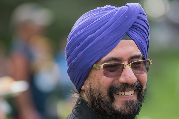 Dr. Amrit Singh donned a purple turbin for the Relay for Life, the event's official color. Singh was named an ambassador for the event held in Sibley Park on Friday evening. Photo by Jackson Forderer