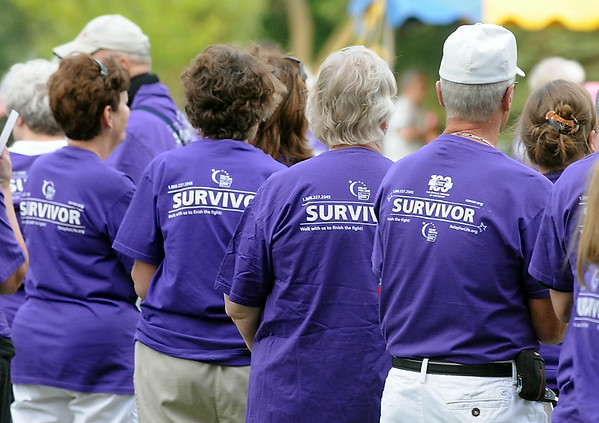 Cancer survivors wait to be introduced during Friday's Relay for Life. Photo by Pat Christman