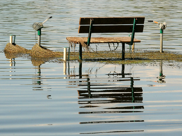 Aquatic weeds still cling to a bench on a dock submerged by high water on Lake Tetonka. Even though flood waters have fallen nearly two feet, many streets and homes remain flooded. Continued high water prompted officials to implement a no wake policy on most lakes.  Photo by John Cross