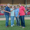 From left, John Petersen, Jim Hatleli, John Kind and David Holmes of the singing group Quadraphonic perform the National Anthem at the MoonDogs game on Saturday evening. The group will also perform the National Anthem at the Minnesota Twins game on July 5. Photo by Jackson Forderer