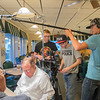 From right, Tylan Porath, boom mic operator, Ethan Clerc, director, and Colin Clerc, production manager, prepare tp shoot a scene for a feature-length movie at Happy Chef. Ethan Clerc finished his first year of film school and is filming his movie in Mankato and Windom. Photo by Jackson Forderer