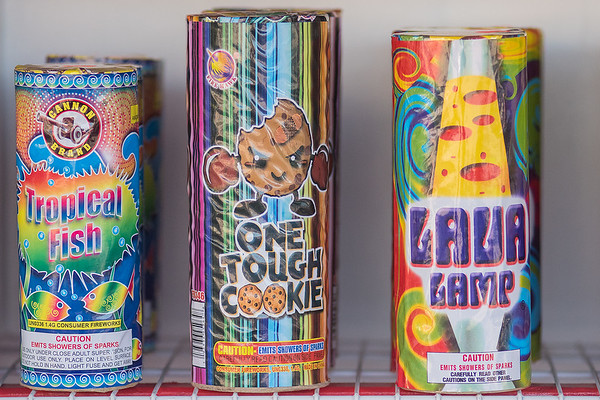 A few of the many choices of fireworks at the fireworks stand in the parking lot of the Riverfront HyVee. Photo by Jackson Forderer