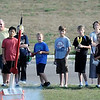 John Cross<br /> A youngster (left) presses the ignition button to send his rocket skyward as others await their turn. Students in grades 2-6 were participating in a five-session class on model rocketry through Community Education and Recreation that culminated Friday with the launching of  their model rockets at Rosa Parks Elementary School.