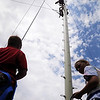 John Cross<br /> Campers at a YMCA Teen Adventure Camp are on belay Monday as fellow campers climb one of the 35-foot towers at Minnesota State University's ropes course.