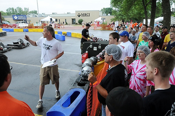 John Cross<br /> Drivers get some pre-race instructions before running in their heat the the MRCI Grand Prix, Saturday.