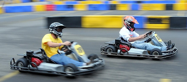 Racers vie for position on a corner during a heat race at the MRCI Grand Prix, Saturday.