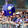 Pat Christman<br /> Vikings fans line up along fences along the Minnesota State University practice fields  to wathc players go thorugh their drills.