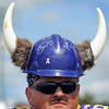 Bill Keech of LeCenter displayed some Viking spirit at a Vikings pre-season practice session by donning a hard hat decorated with horns.