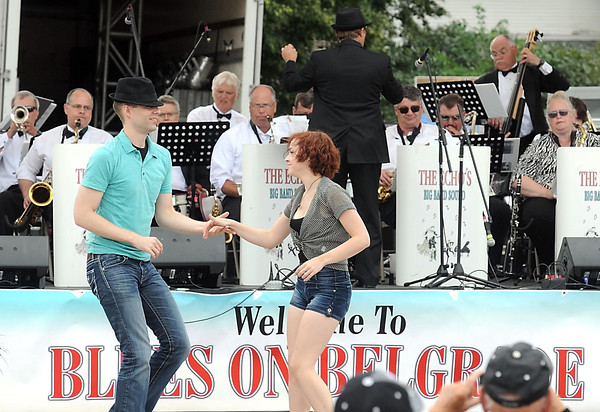 Pat Christman <br /> A couple dance to the music of The Echo's during Blues on Belgrade Saturday in North Mankato.