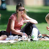 John Cross<br /> Amber Bannerman and her children, Lilly and Landon, lunch in Sibley Park on a pleasant Monday.