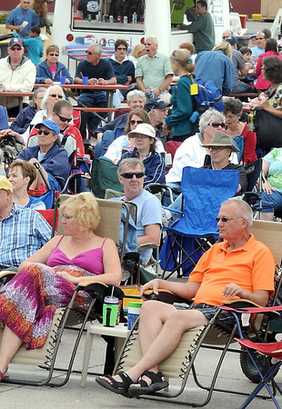 Pat Christman <br /> North Mankato's Belgrade Avenue is filled with blues fans in lawn chairs during Saturday's Blues on Belgrade festival.