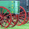 John Cross<br /> Horse-drawn wagons are lined up for sale at an auction at the Vern Peterson farm near Amboy on Saturday.