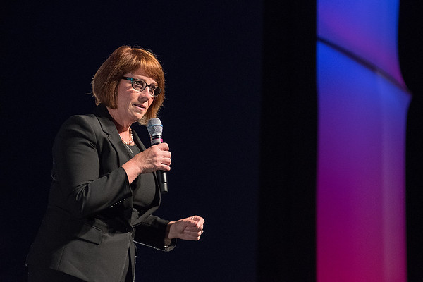 Democratic gubernatorial candidate Erin Murphy addresses the audience while answer a question posed by KEYC's Marvin Rhodes at Thursday's debate held at the Verizon Performance Center.. Murphy was endorsed by the Democratic party and will face fellow Democrat Tim Walz in the August 14 primary. Photo by Jackson Forderer