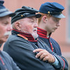First Lieutenant John Fritsche gives orders to the New Ulm Battery before they fired a cannon outside of Turner Hall in New Ulm on Tuesday. Residents organized a centennial remembrance celebration to mark New Ulm's role in WWI. Photo by Jackson Forderer