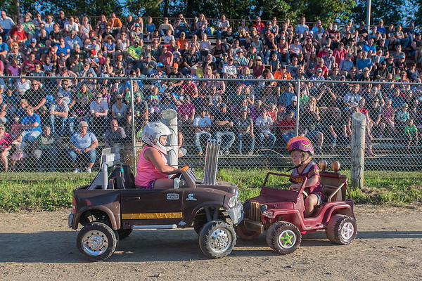 Skylar Werner (left), 4, from Redwood Falls hits an opponent in the Powerwheels division of the demolition derby at the Blue Earth County Fair on Saturday. Photo by Jackson Forderer