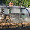 Erich Velzke from Waterville somehow manages to drive his minivan during the demolition derby at the Blue Earth County Fair on Saturday. Velzke took second place in the minis division. Photo by Jackson Forderer