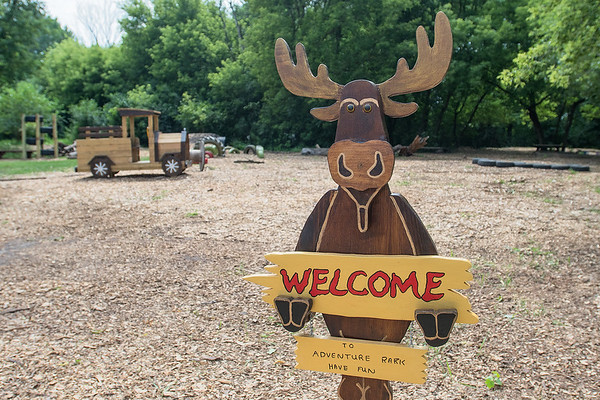 A moose welcomes visitors to the new Adventure Park in Eagle Lake. The park is made from recycled materials such as tires, and features playground equipment, a checker board table, a large sandbox and a giant Jenga. Photo by Jackson Forderer