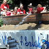 KIds from Holy Rosary Catholic Church pour water on a boy during Saturday's North Mankato Fun Days parade.