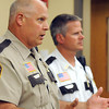 Pat Christman<br /> Blue Earth County Sheriff Brad Peterson, foreground, and Nicollet County Sheriff Dave Lange discuss the reward being offered for information leading to the capture of Jacob Friedrichs Tuesday at the Blue Earth County Justice Center.