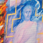 A detail of a page at the Saint John's Bible exhibit called Vision of the Son of Man by Donald Jackson, which also includes text from Daniel 7: 9-14. Photo by Jackson Forderer