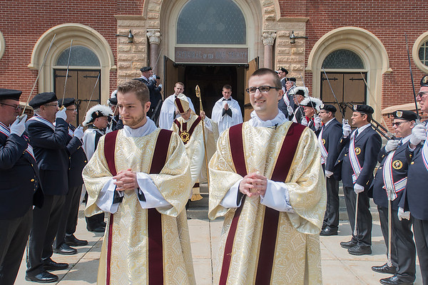 John Hayes (left) and Shawn Polman file out of mass at the Cathedral of the Holy Trinity in New Ulm on Saturday. The two were ordained to the transitional diaconate. Photo by Jackson Forderer