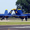Three of the Blue Angels' F/A-18 aircraft taxi to their parking area after arriving at the Mankato Regional Airport Wednesday.