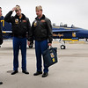 John Cross<br /> Air Show committee member Jason Ceminsky of North Star Aviation greets Blue Angels pilots Lt. Mark Tedrow (center) and Lt. Cmdr. Todd Royles after they flew in Monday for a planning session with local officials. The air show at the Mankato Regional Airport is scheduled for June 9-10, 2012.