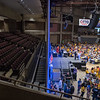 A large partition that included screens for the DFL State Convention left one section in the Mayo Civic Center empty. Photo by Jackson Forderer