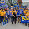 Sophie Prock (center), 15, stands with other Tim Walz supporters outside of the Mayo Civic Center in Rochester on Saturday, moments before Walz withdrew his name for the DFL endorsement. Walz will run in the primary against the endorsed candidate Erin Murphy. Photo by Jackson Forderer
