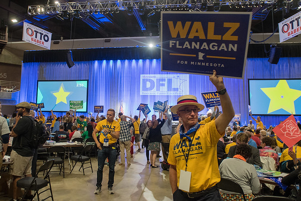 Joe Kunkel of North Mankato campaigns for Time Walz at the DFL State Convention held on Saturday in Rochester. Photo by Jackson Forderer